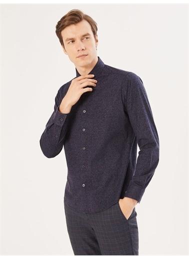 Xint XINT Slim Fit Baskılı Pamuklu Gömlek Siyah